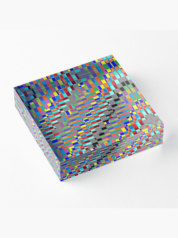 Alternate view of Trippy Vertical Colored Squares Acrylic Block