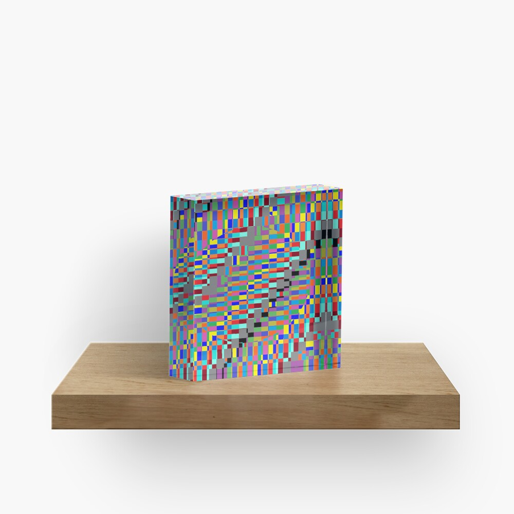 Trippy Vertical Colored Squares Acrylic Block