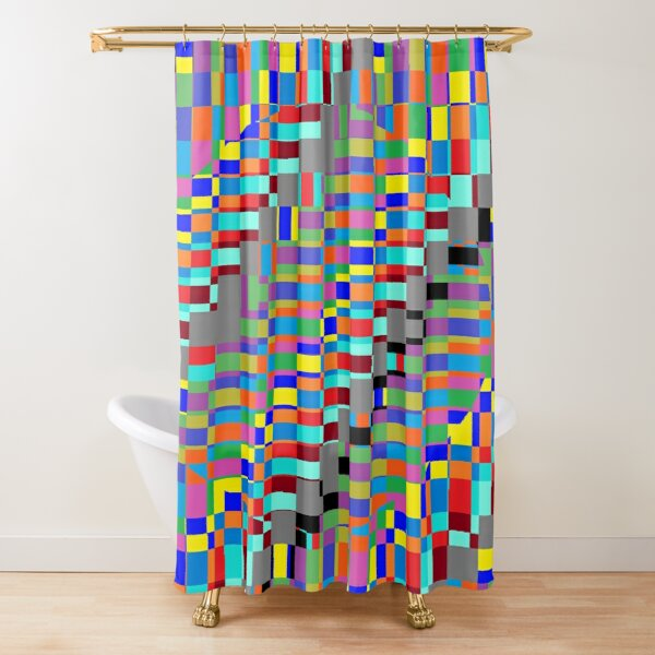 Trippy Vertical Colored Squares Shower Curtain