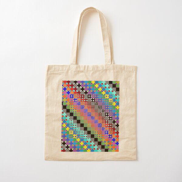 Trippy Colored Squares Cotton Tote Bag