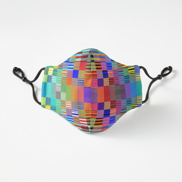 Fitted Masks, Trippy Vertical Colored Squares Fitted 3-Layer