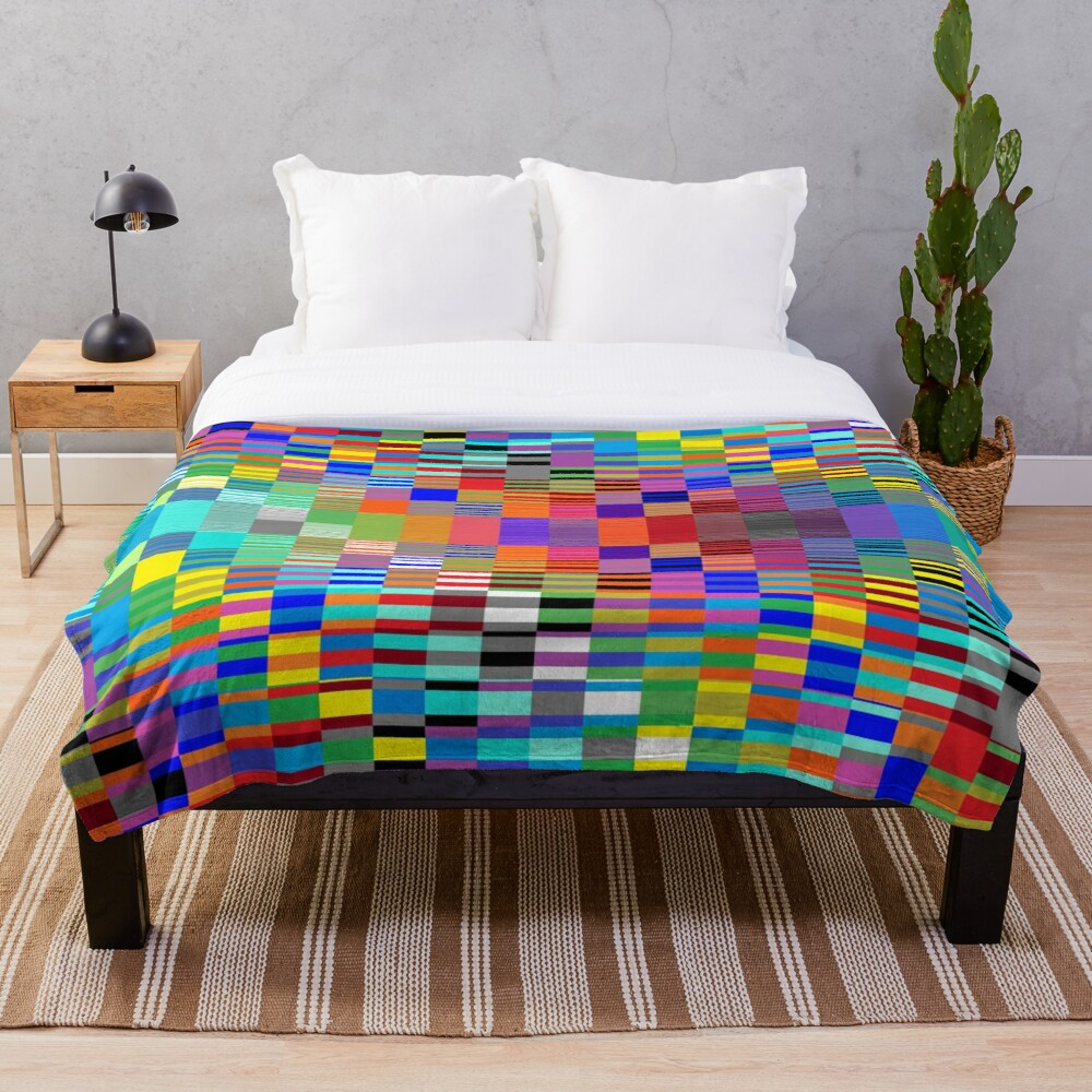Trippy Vertical Colored Squares Throw Blanket
