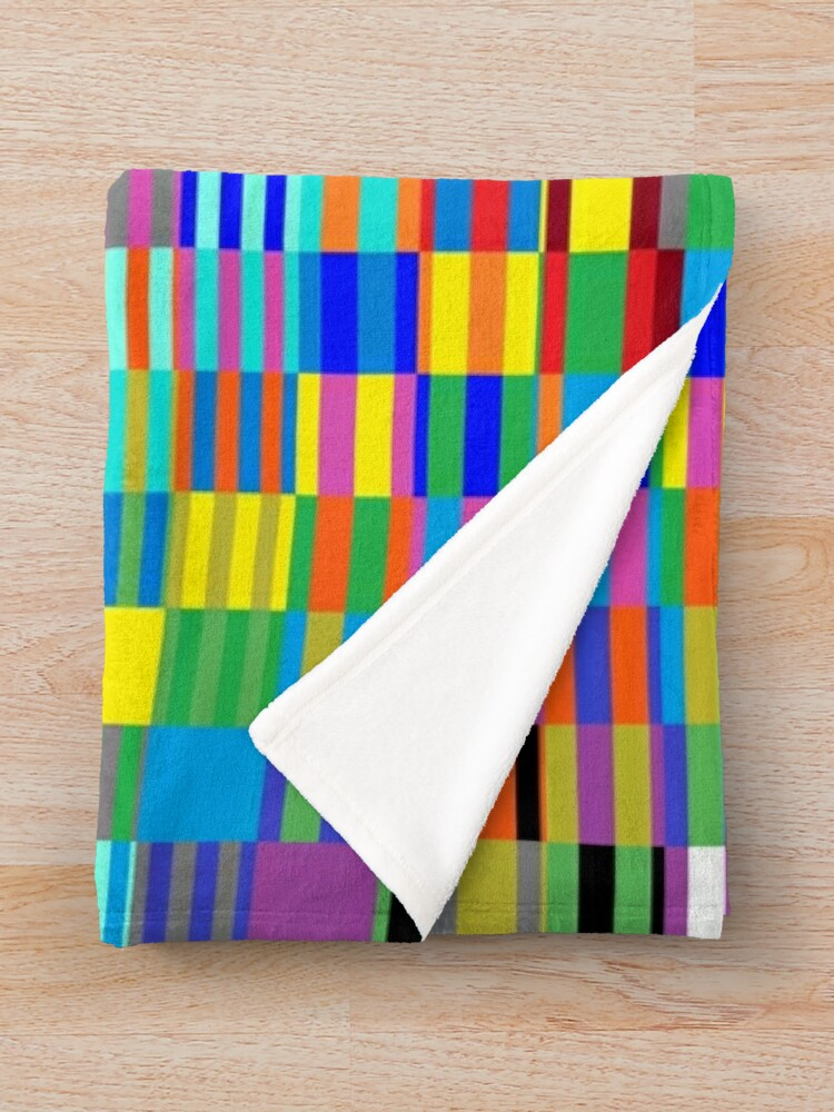 Alternate view of Trippy Vertical Colored Squares Throw Blanket