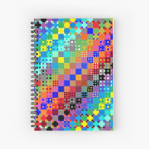Trippy Colored Squares Spiral Notebook