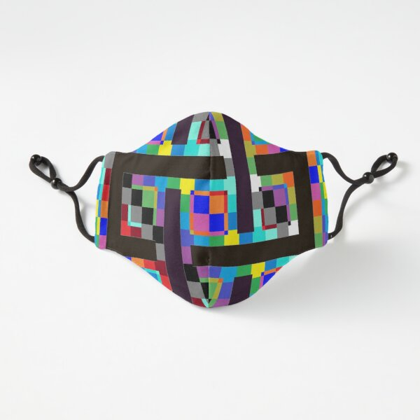 Fitted Masks, Trippy Vertical Colors Fitted 3-Layer