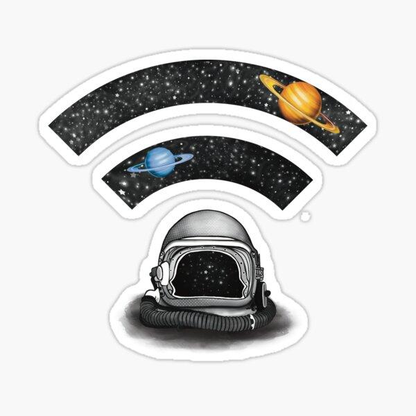 WiFi logo sign , space helmet and stars  Sticker