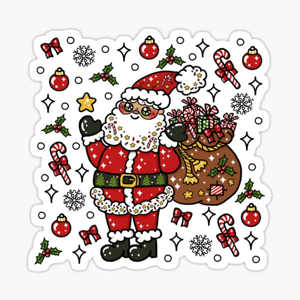 Jolly Kawaii Christmas Santa (black line art) Sticker