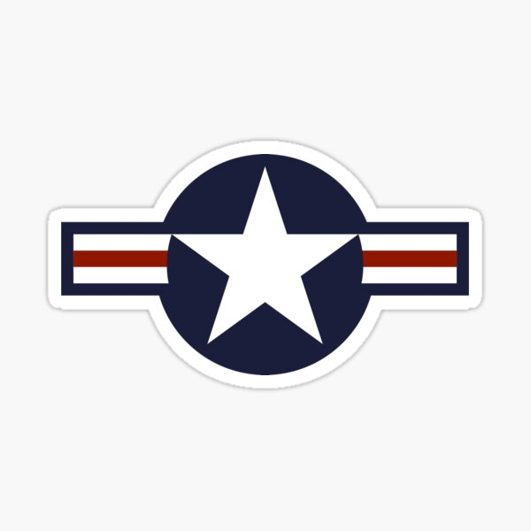 AIR FORCE. AMERICAN, USAF, Roundel, United States Air Force, aircraft, United States Navy, United States Marine Corps, on Grey. Sticker