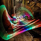 Nightime alley scene with pixel stick light painting by Sven Brogren