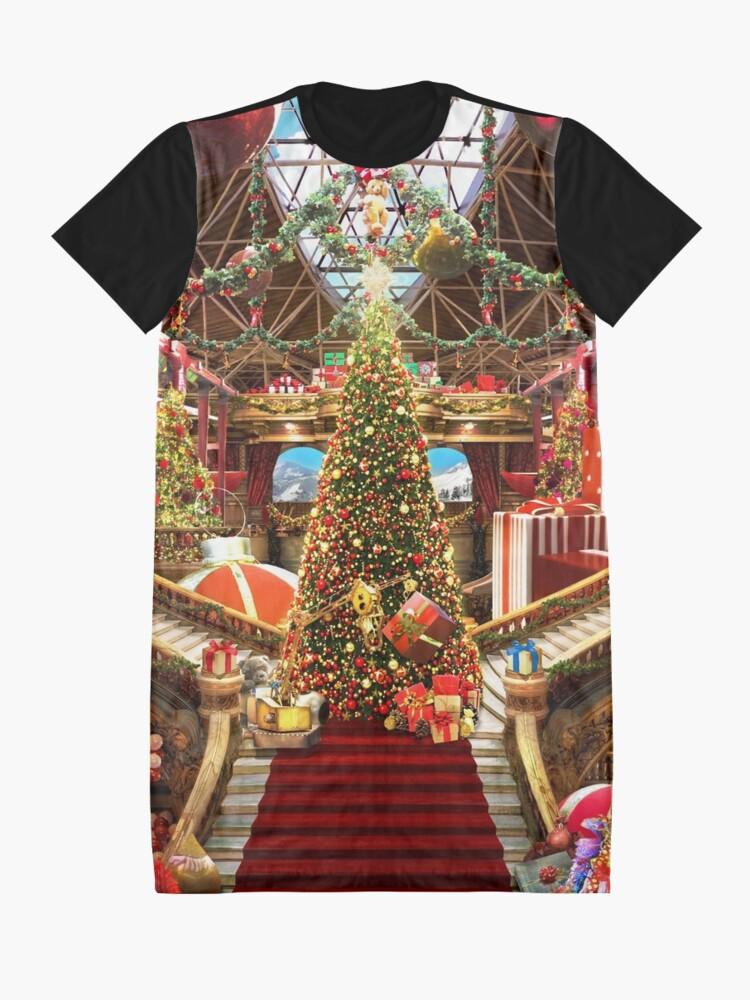Alternate view of Santas Workshop - Christmas Holiday Art Graphic T-Shirt Dress