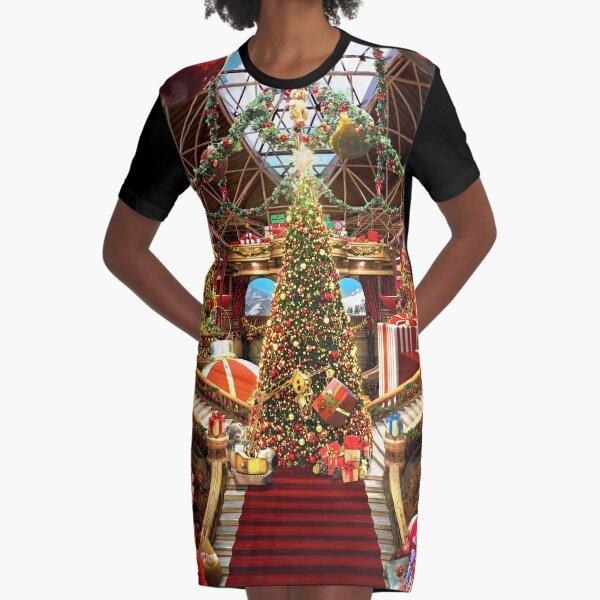 Santas Workshop - Christmas Holiday Art Graphic T-Shirt Dress