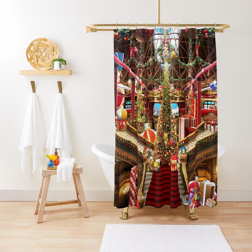 Santas Workshop - Christmas Holiday Art Shower Curtain