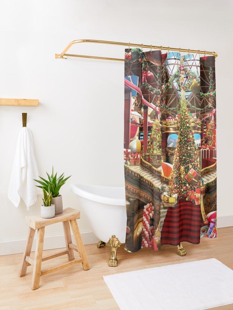 Alternate view of Santas Workshop - Christmas Holiday Art Shower Curtain