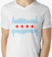 Chicago Flag Skyline Men's V-Neck T-Shirt