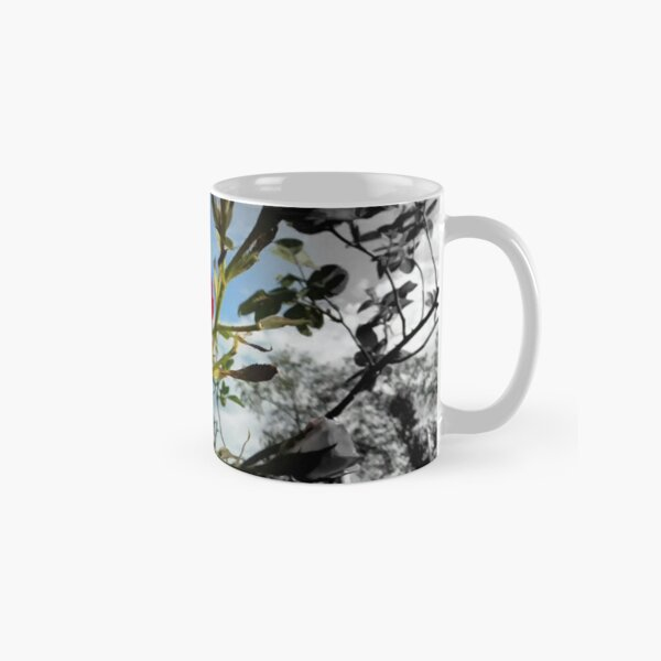 Red Rose with Black and White American Flag Nature Background  Classic Mug