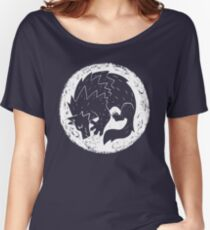 Woodcut Werewolf - White Moon Women's Relaxed Fit T-Shirt