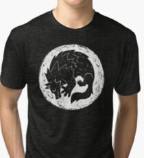 Woodcut Werewolf - White Moon Tri-blend T-Shirt