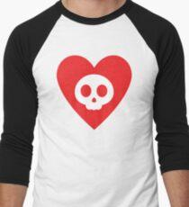 Cute Skull in Heart Men's Baseball ¾ T-Shirt