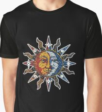 Celestial Mosaic Sun/Moon Graphic T-Shirt
