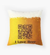 I Love Beer background Throw Pillow