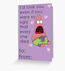 Patrick Spongebob Valentine Card Funny Greeting Card