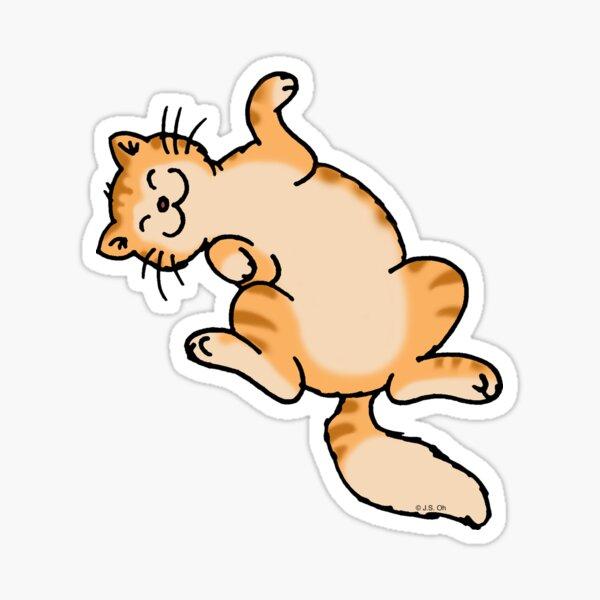 Ginger tiger cat lying on back Sticker
