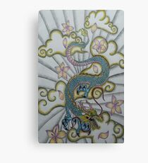 Chinese Dragon Cloud and Flower Tattoo Design  Canvas Print
