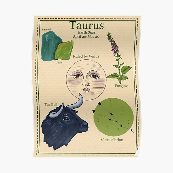 Zodiac Astrology Vintage Style Poster- Taurus Poster