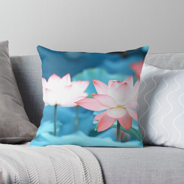 Pink Lotus Bloom Throw Pillow