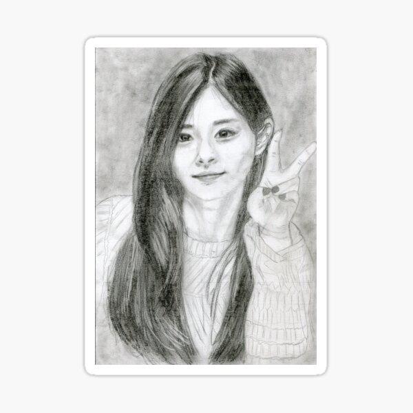 Realistic Tzuyu Drawing Art -- Tzu yu Graphite Pencil Sticker
