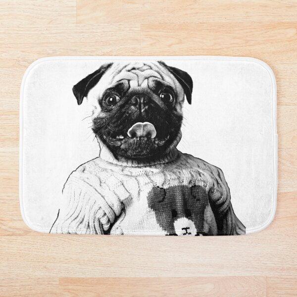 Pug in a turtle-neck sweater Bath Mat