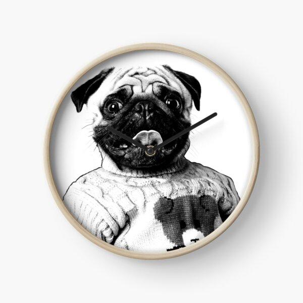 Pug in a turtle-neck sweater Clock