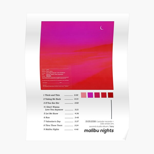 LANY Malibu Nights Album Cover Poster Poster