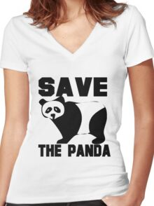 SAVE THE PANDA Women's Fitted V-Neck T-Shirt