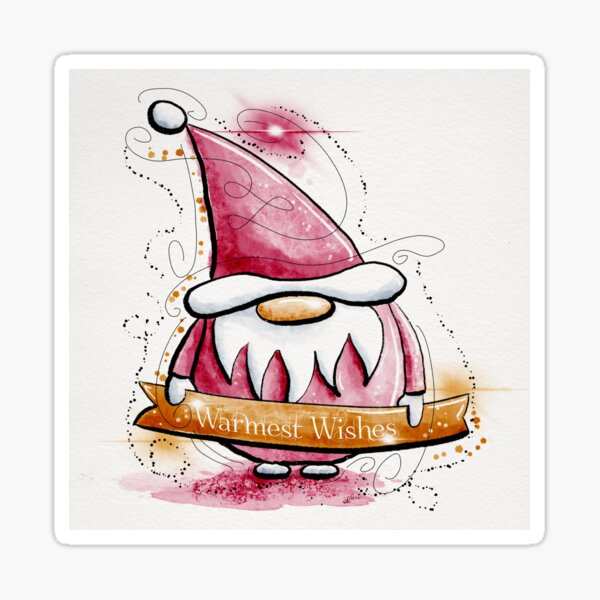 Warmest Wishes Gnome Tomtem Watercolor Sticker