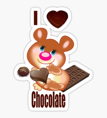 Teddy I Love chocolate  (6250  Views) Sticker