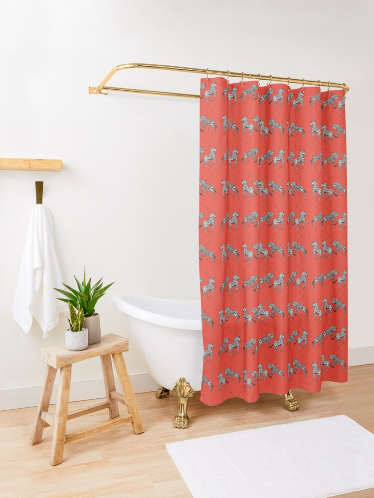 Alternate view of Pattern of The Royal Tenenbaums Shower Curtain