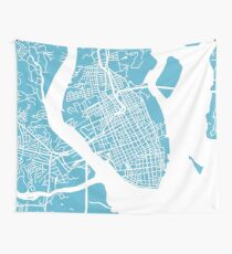 Charleston, SC Map - Baby Blue Wall Tapestry