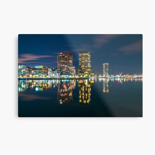 City Architecture Reflection at Night Metal Print