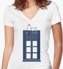 Snoopy / Dr. Who Women's Fitted V-Neck T-Shirt