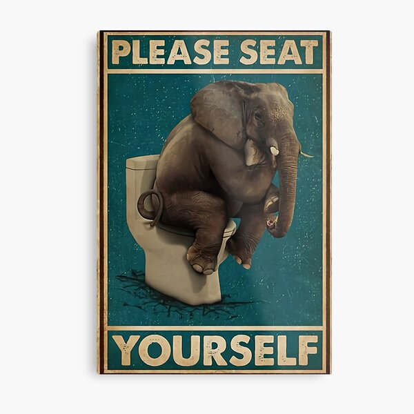 elephant shit down in the toilet  Metal Print