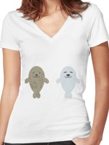 cute seal and fish in water Women's Fitted V-Neck T-Shirt