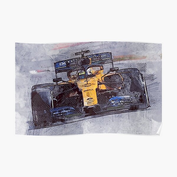 Art de papier de formule 1 Lando Norris McLaren Poster