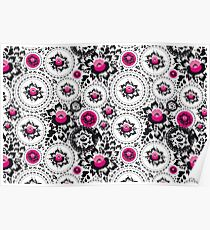 Vintage shabby Chic pattern with Pink and Black flowers  Poster