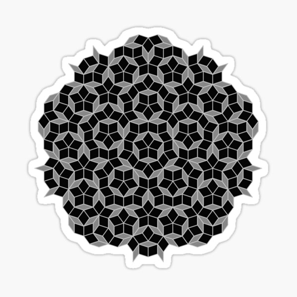 Aperiodic tiling - Black and Silver Sticker
