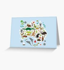 Australian animal map and ocean Greeting Card