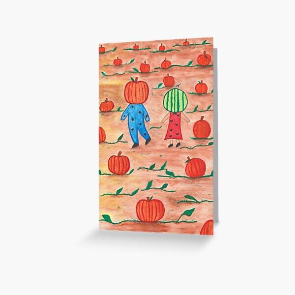 Watercolor Illustration - Pumpkin Boy and Watermelon Girl Greeting Card