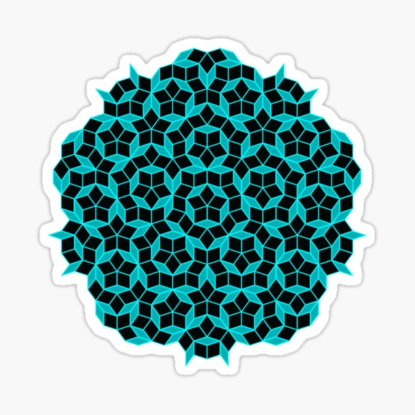 Aperiodic tiling - Black and Aqua Sticker