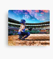 Softball Catcher And Stadium Painting Canvas Print