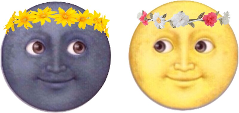 quotmoon and sun emoji flower crownquot stickers by mythsinc